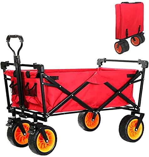JeeKoudy Carro Plegable para Acampar Carro Plegable para jardín de Playa con Bolsillo Mango Ajustable Carro de Transporte de Lona para Compras en el jardín