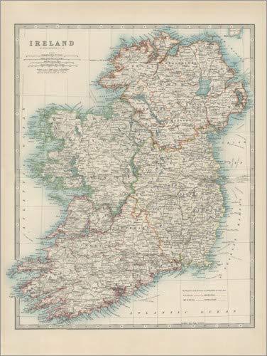 Posterlounge Acrylglasbild 100 x 130 cm: Irland 19. Jahrhundert (englisch) von Alexander Keith Johnston/World Art Group - Wandbild, Acryl Glasbild, Druck auf Acryl Glas Bild