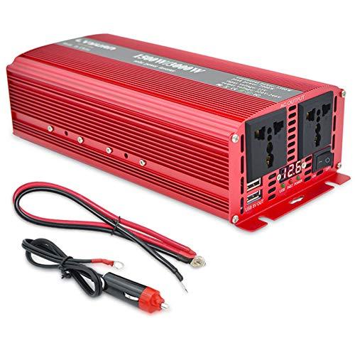 Inversor de energía Solar de Onda sinusoidal modificada 1500W / 3000W, 12V 24V DC a 110V / 220 AC 2 USB LED LED Pantalla Inteligente conversor de Voltaje