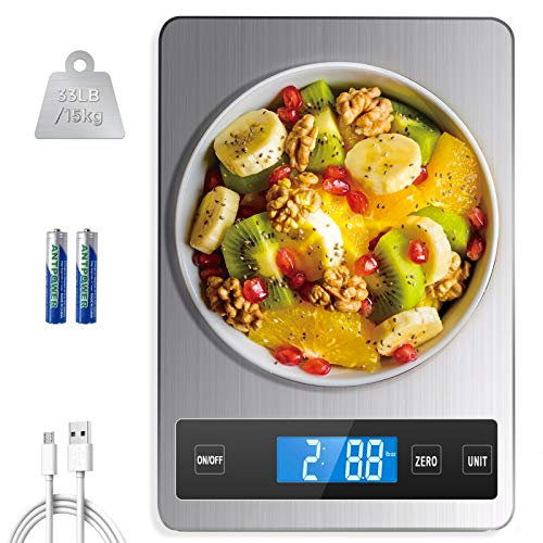 HOWEIFULL Food Scale Digital Weight Grams and OZ 33lb/15kg Rechargeable Kitchen Scale 5 Units for Cooking Baking 1g/004oz Precise Graduation Tare Function Electronic LCD Display Stainless Steel