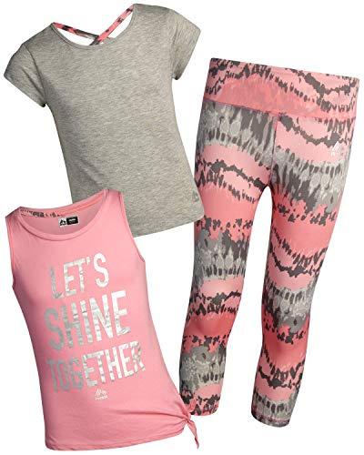 RBX Girls' Activewear Set - Short Sleeve Performance T-Shirt, Tank Top, and Yoga Pants Leggings Set, Size 7/8, Gray/Coral