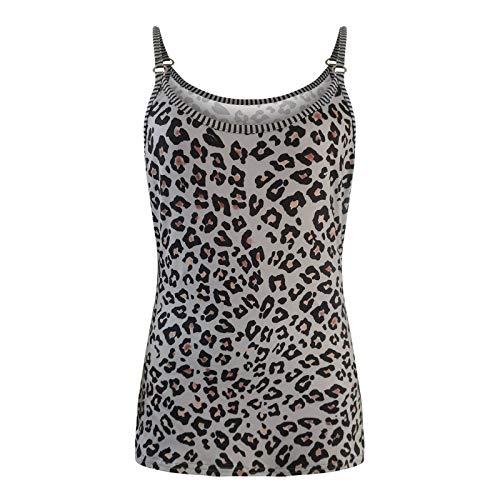 Damen Oberteile Elegant Sexy Camisole Leopardenmuster Tank Tops Rundhals Spaghetti Top ärmellos T-Shirt Vest Blouse Women Cami Shirt Short Top Streetwear
