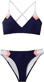 Women's Navy Sport V Neck Lace Up Bikini