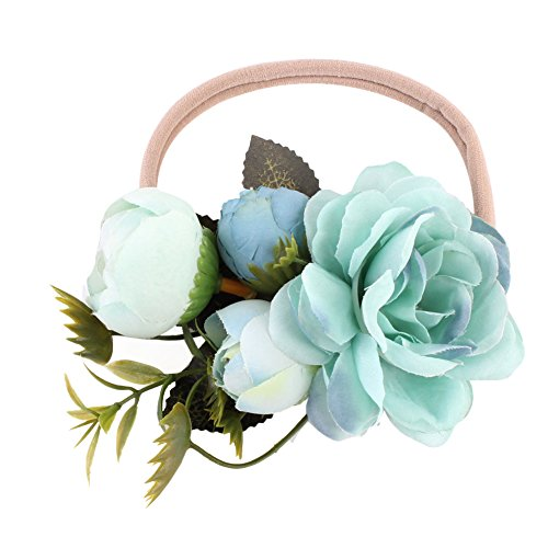 TININNA Bébé Garçons Filles Fleur à la Main Bandeau Couronne Festivals Bandeau Couronne Chapeau Coiffure Bleu