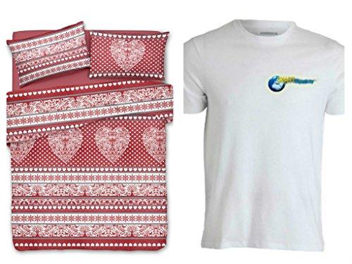 Smartsupershop Bettbezug mit Kissenbezügen Doppelbett Mis. 250x 200–Tirol rot–Shirt Staff gratis–aus Baumwolle Made in Italy