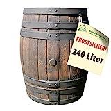 REGENTONNE EICHENFASS SET 50l / 120l / 240l / 450 Liter, das REGENFASS mit fühlbarer Holzstruktur, in sehr schönem HOLZ-DESIGN, mit Maserung wie ein HOLZFASS, dauerhaftdicht und splitterfrei! (240L)