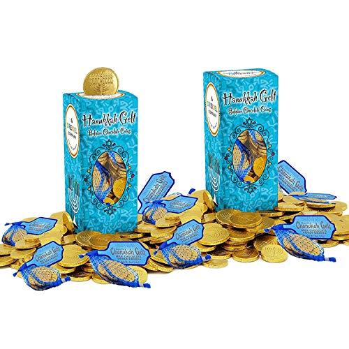 Hanukkah Chocolate Gelt Gold Coins In Mesh Bag, Belgian Milk Chocolate Coins, 2LB, Kosher Certified Gelt (48 Mesh Bags, 5 Coins Per Bag)