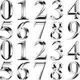 20 Pezzi Numeri di Cassetta Postale Numeri Civici Autoadesivi Numeri di Indirizzo Adesivi Porta 3D Indirizzo Targhe Cartelli per Casa, Appartamento, Ufficio da 0 a 9 (2,75 Pollici, Argento)