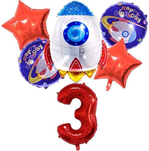 Globos Cumpleaños Decoracion, Decoraciones de Fiesta temáticas del Espacio Exterior, Cohete Globos Foil y Happy Birthday Cohete Globos Foil, Decoración de Feliz Cumpleaños con Accesorios