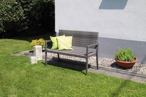 acamp Gartenbank wetterfest Dijon | Sitzbank anthrazit grau meliert | 2-Sitzer | stabil