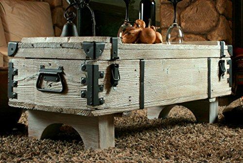 Alte Truhe Kiste Tisch shabby chic Holz Beistelltisch Holztruhe Couchtisch 39 cm Höhe / 41 cm Tiefe / 97 cm Breite - 4