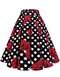 Bridesmay Donna Vintage Piastre Stampate Swing Gonne con Tasche Black Red Rose DOT XS...