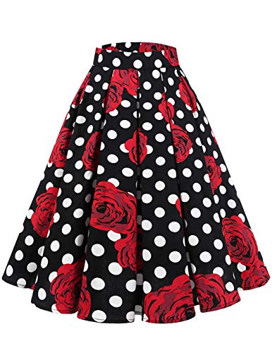 Bridesmay Donna Vintage Piastre Stampate Swing Gonne con Tasche Black Red Rose DOT XS