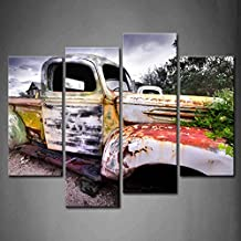 4 Panel Wall Art Wide Angle Shot Of Old Rustic Truck Under Black Sky Painting The Picture Print On Canvas Car Pictures For Home Decor Decoration Gift piece (Stretched By Wooden Frame,Ready To Hang)