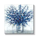Abstract Bouquet Canvas Wall Art: Blue Flowers in Vase Artwork Print Painting for Living Room Office ( 24''W x 24''H )