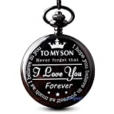 Black Engraved Pocket Watches to My Son Quartz Watches Fob Clip Chains Birthday Gifts for Kids