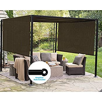 Patio Outdoor Shade Universal Replacement Pergola Canopy Shade Cover 10'X12' Brown with Grommets 2 Sides Weighted Rods Included Shade Screen Panel for Balcony Deck Porch