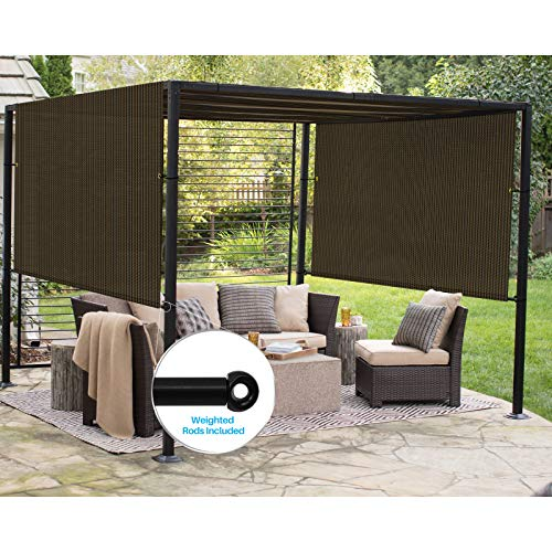 Patio Outdoor Shade Universal Replacement Pergola Canopy Shade Cover 10'X16' Brown with Grommets 2 Sides Weighted Rods Included Shade Screen Panel for Balcony Deck Porch