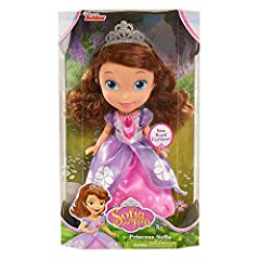 """included are her separate purple amulet necklace, sparkly tiara, and removable princess shoes Ages 3 & Up Disney Junior's Sofia the First Princess Sofia 10.5"""" doll be your little ones very first princess pal. She looks just like she does in the show ..."""