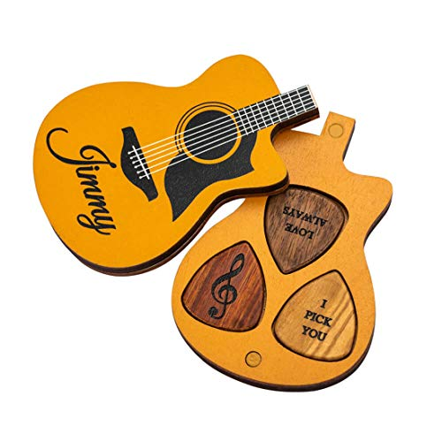 Customizable Guitar Pick Holder Three Personalized Picks,Phoenixtang is A Unique Music Gift for Folk/Electric Guitars (Style One)