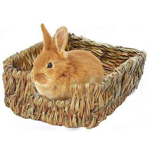 Natürliches handgewebter Essbar Gras Bett Pet Matte,Kleintier Hütten für Bunny Maus und Zwerg Hamster ungiftig Kauspielzeug Bett