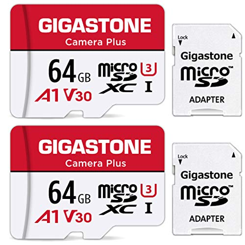 Gigastone 64GB Tarjeta de Memoria Micro SD, Paquete de 2, Camera Plus, Compatible con Nintendo Switch, 95 MB/s de Alta Velocidad, Grabación de Video 4K, Micro SDXC UHS-I A1 Class 10