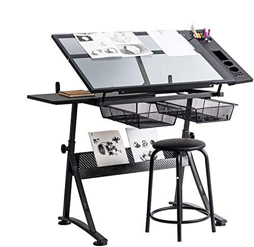 Dawoo Glas Höhenverstellbare Schublade Desktop-Maltisch Mit 2 Ausziehbaren Mesh-Schubladen, Geeignet Für Kinder Und Erwachsene Künstler. (Mit 8 Clips)