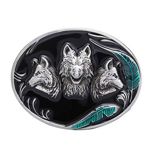 kowaku Hebilla de Cinturón de Vaquero Occidental para Hombre Hebilla de Cinturón Ovalada