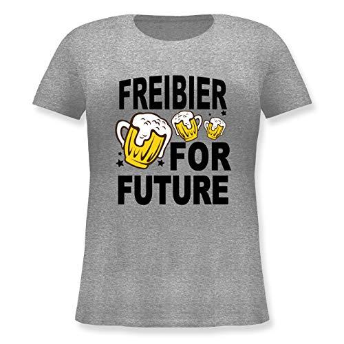 Oktoberfest Damen - Freibier for Future - 3 Biergläser - schwarz - 44 Große Größen - Grau meliert - Bier - JHK601 - Lockeres Damen-Shirt in großen Größen mit Rundhalsausschnitt