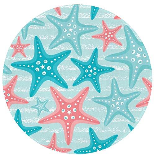 KiuLoam Nautical Ocean Starfish Non-Slip Round Area Rugs Kitchen Floor Mat Soft Floor Carpet for Chair Living Room Bedroom, 2-Ft Diameter