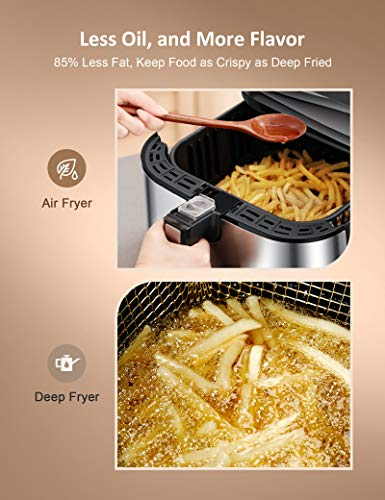 Innsky Air Fryer, 5.8 Quart, 1700-Watt Electric Stainless Steel Air Fryers Oven for Roasting/Baking/Grilling, 7 Cooking Presets, Preheat, Appointment Function& LED Digital Touchscreen, Nonstick, ETL Listed (32+ Recipe book)