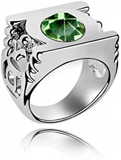 HOX Punk Personality Austria Green Lantern Crystal Ring Exaggerated Ring Couple Ring Full Alloy Crystal Alloy Plating White Gold, Olive