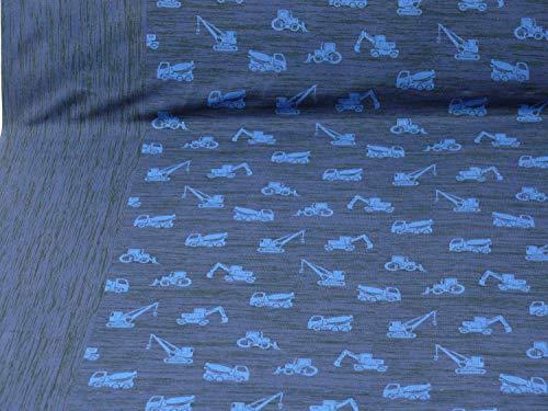 Hilco Baumwolljersey, Baufahrzeuge, Bordüre, meliert, dunkelblau (25cm x 150cm)