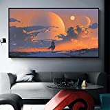 ganlanshu Arte de la Pared Lienzo Paisaje Espacio Vaquero póster impresión Sala de Estar decoración del hogar,Pintura sin Marco,50X100cm