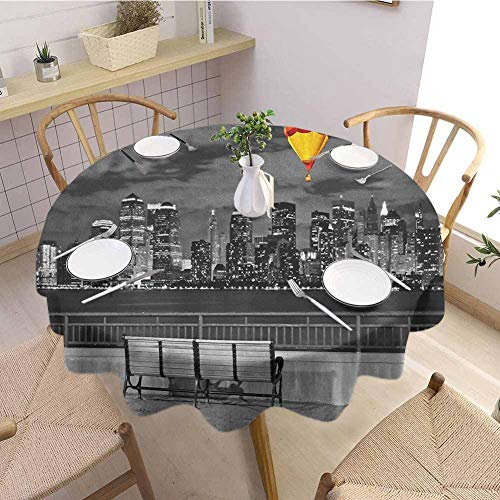 Black and White Microfiber Tablecloths,NYC Skyline from Liberty State Park with Vibrant Air Balloon in Sky Print Table Cover for Wedding Party 43 Inch Round Multicolor