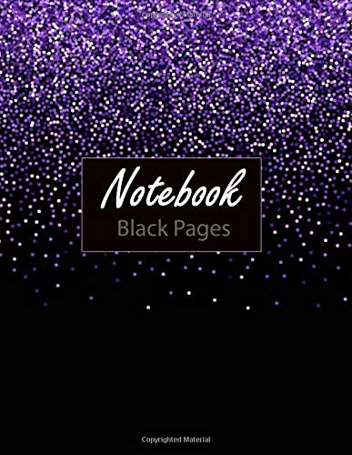 Notebook ( Black Pages ): 100 Pages 8.5' x 11' Lined Blank Black Paper Notebook, is Perfekt for White ink and Gel pens. Sky Cover Blue Frame Creativity Hand Lettering Journal