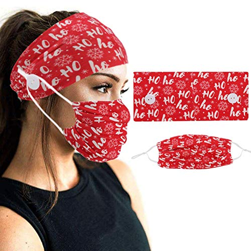 2PCS Christmas Print Button Headband Set Fashionable Elastic Turban Fabric Headband to Cover Face and Dustproof for Yoga and Running Exercise
