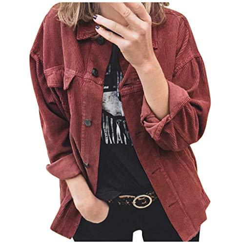 Celucke Women's Winter Solid Button Coat Casual Long-Sleeved Sweater Outwear Wine