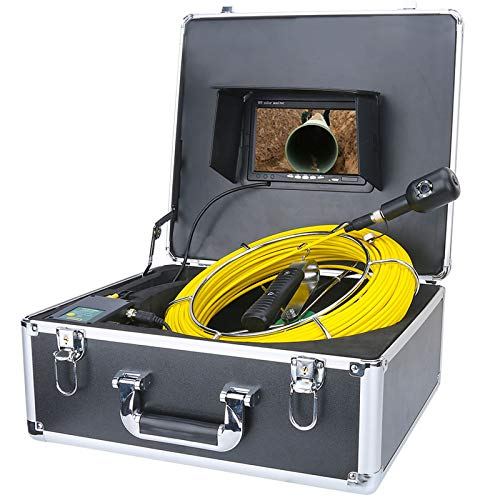 "Profi Pipeline Inspektionskamera 7\"" HD LCD-Monitor Kanal Kamera Rohrkamera mit DVR Rekorder Industrie Rohr Endoskop Wasserdichtes IP68 Kanalkamera mit 16GB SD-Karte,30M"