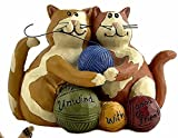 Blossom Bucket A Friendship of Two Knitting Cats CAT Good Friends Resin Figurine