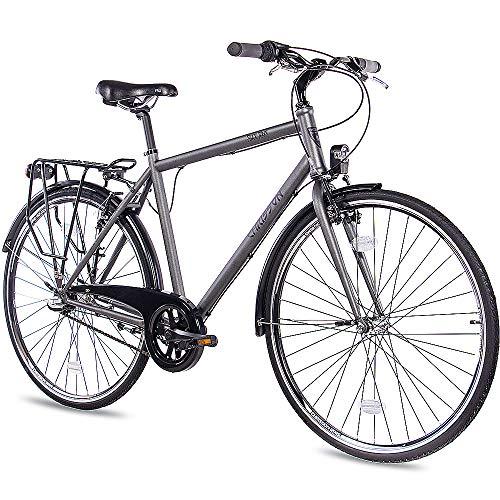 CHRISSON 28 Zoll Citybike Herren - City One anthrazit matt 56 cm - Herrenfahrrad mit 3 Gang Shimano Nexus Nabenschaltung - praktisches Cityfahrrad für Männer