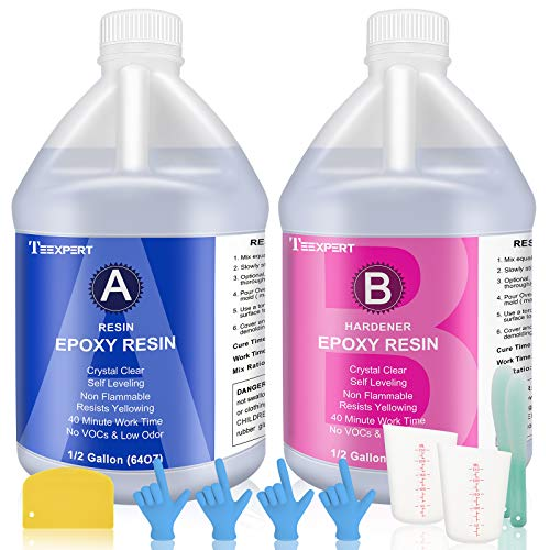 1 Gallon Epoxy Resin and Hardener Kit Crystal Clear for Jewelry DIY Art Crafts Cast Coating Wood, Easy Cast Resin with 2 Sticks, 2 Plastic Spreader, 2 Graduated Cups, 4 Pairs Gloves and 1 Instructions