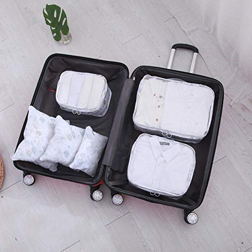 Travel Luggage Storage Bag Travel Organiser Suitcase Portable Packaging Cube Compression Pouches Different Sizes Of High Quality And Durable Travel Essential Tote Bag Box (6pcs) Shell