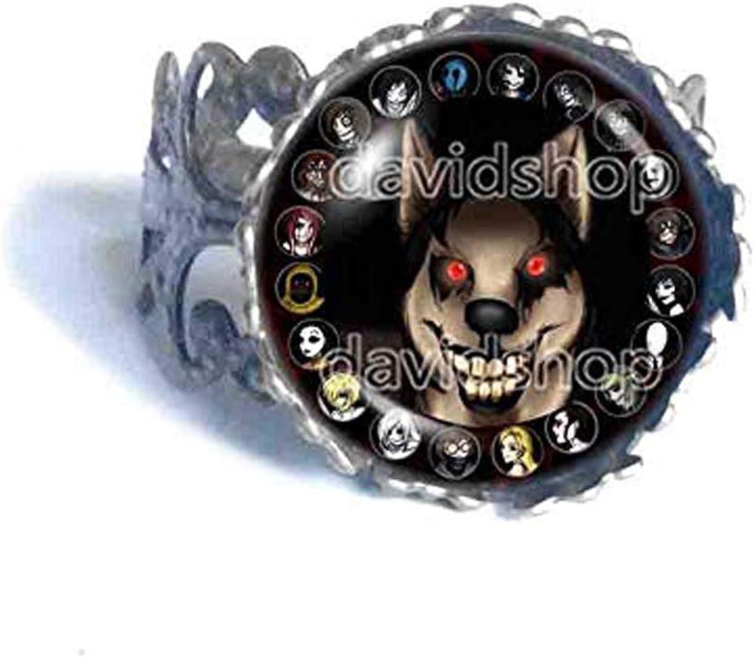 Fashion Jewelry Creepypasta Creepy Pasta Smile Dog Ring Cosplay Smiledog Red Eye