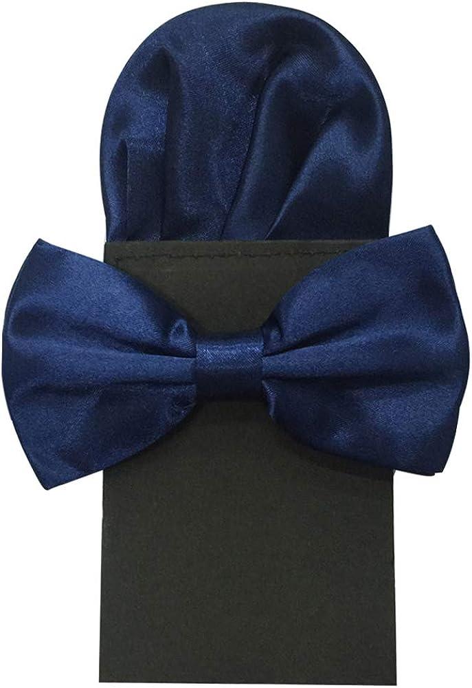 Mens Adjustable Pre-tied Bow Tie Pocket Square Set