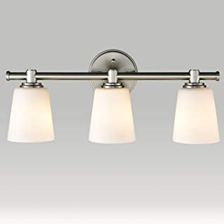 EUL Bathroom Wall Sconces Lighting Fixture Brushed Nickel with Opal Glass Shade 3-Lights