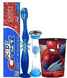 Marvel Spider-Man Inspired Boys 4pc Bright Smile Oral Hygiene Set! Flashing Lights Toothbrush, Toothpaste, Brushing Timer & Mouthwash Rise Cup! Plus Bonus