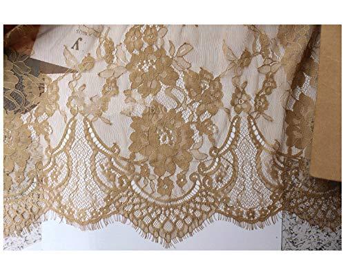 Chantilly Eyelash Edge Lace Fabric Floral Bridal/Wedding Dress Flower African Lace Table Cloth DIY Crafts Trim Applique Ribbon Curtains ALE16 (Light Gold)