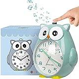 Reloj Despertador para niños sin Tic-TAC, Reloj búho con luz Nocturna, Reloj con función de repetición del Dormitorio, Alarma Fuerte para niños, Funciona con Pilas