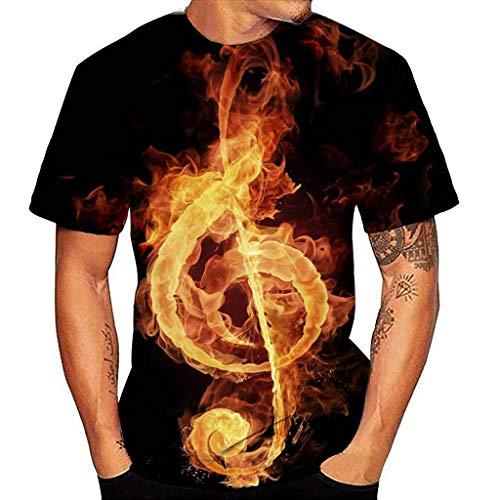 JIekyoi Explosión Musica Nota Musical Llama Impresión 3D Camiseta de Hombre Manga Corta de Hombres Ropa Deportiva para Hombres